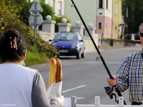 フランスパン国境で釣り竿を使って購入