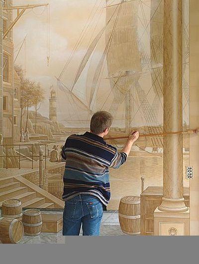壁の絵が立体的に見えるアート05