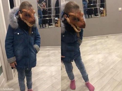 恐竜マスクを怖がる猫01