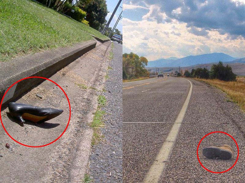 「よく高速道路で靴が片方だけ落ちてるけど…持