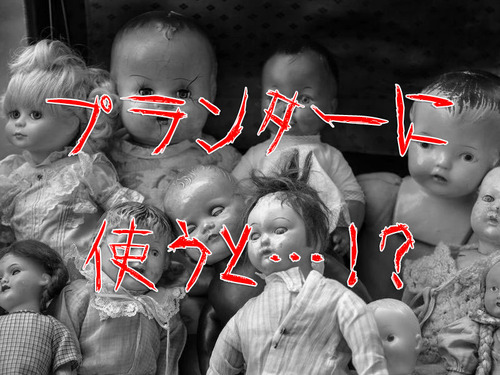 古い人形をプランターにするとホラー00