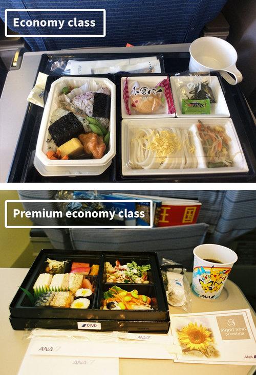 ファーストクラスとエコノミークラスの機内食17