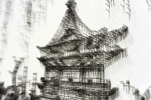 水墨画のような「釘」アート02
