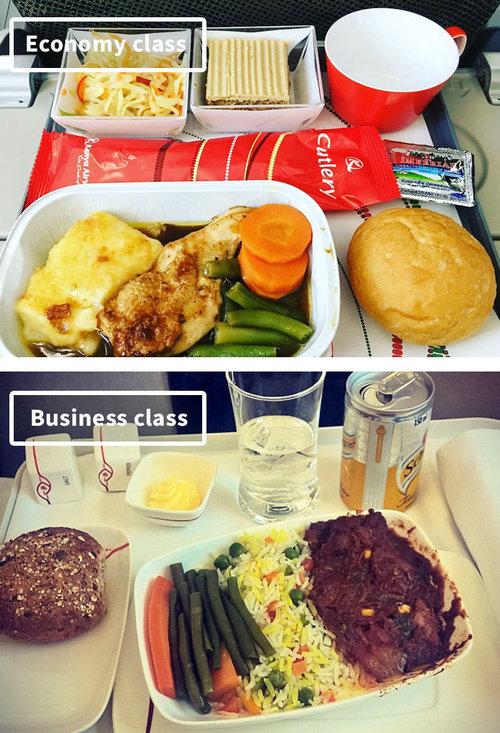 ファーストクラスとエコノミークラスの機内食08