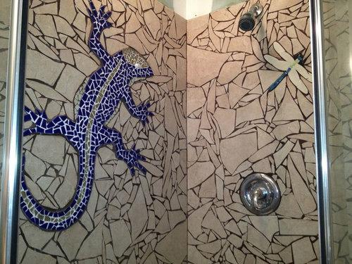 シャワー室の平凡なタイルをクールなデザインに07