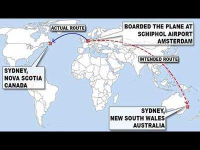 カナダとオーストラリアのシドニーを間違える
