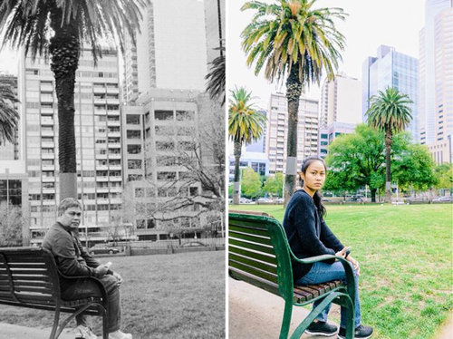 娘が亡くなった父の旅先と同じ場所・同じポーズで記念写真09
