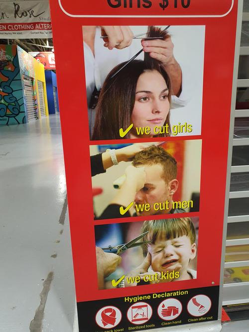 美容院の看板の子供01