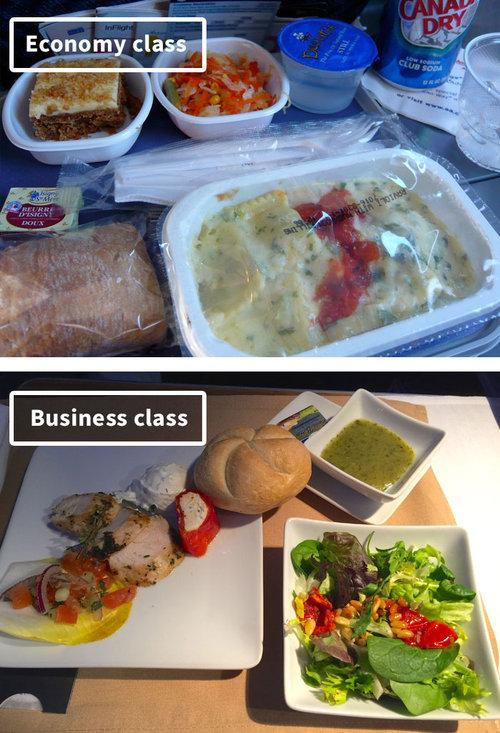 ファーストクラスとエコノミークラスの機内食14