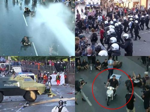 G20のデモ衝突のど真ん中にピザ配達00