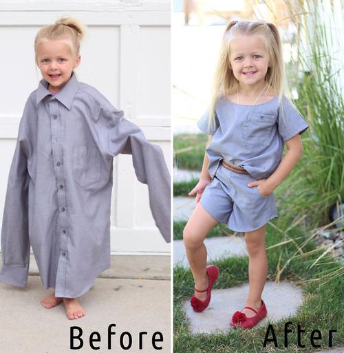 パパの古着を娘のドレスに変身01