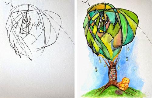 2歳の娘が描いた落書きを母親が水彩画に05