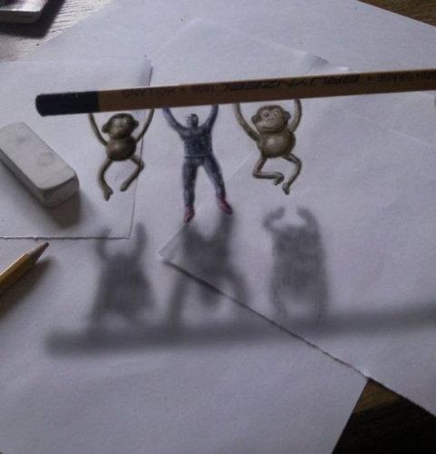 紙に描いた立体アート17