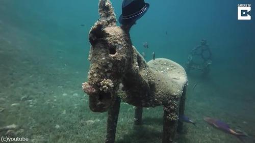 ダイバーが海底でロバの彫刻を発見04