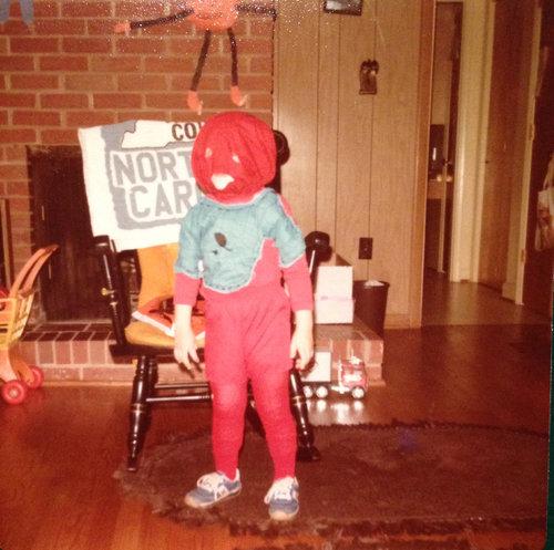 母が昔作ってくれたスパイダーマンのコスプレ01
