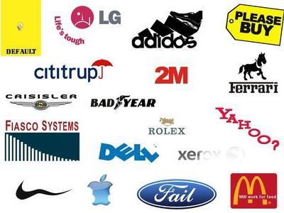 景気低迷中の有名企業のロゴ