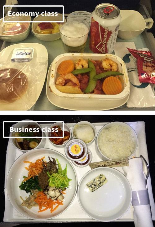 ファーストクラスとエコノミークラスの機内食15