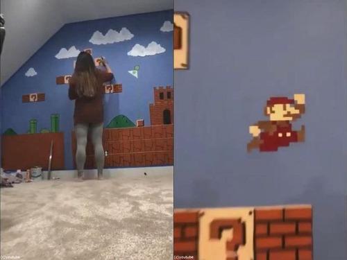 スーパーマリオの壁を描く01