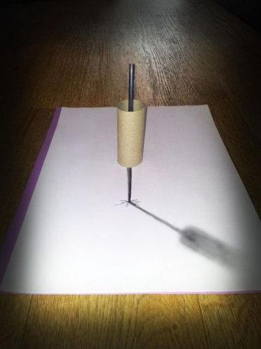 紙に描いた立体アート13
