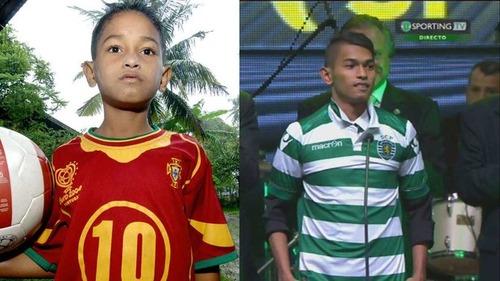 被災者の少年がサッカー選手に01