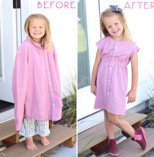 パパの古着を娘のドレスに変身05
