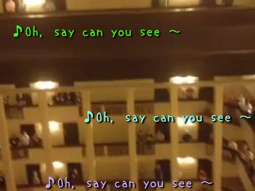ホテルで高校生がアメリカ国家00