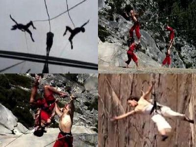 崖でぶら下がり華麗に飛び跳ねる集団TOP