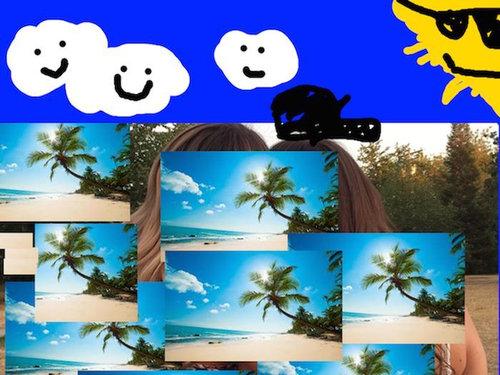 2人組の女の子の背景をビーチに10