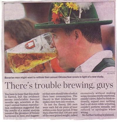 ビールを飲みすぎる男は女になるという調査結果