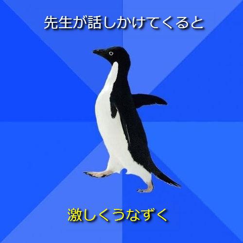 社交性のないペンギン06●先生が話しかけてくると ─ 激しくうなずく