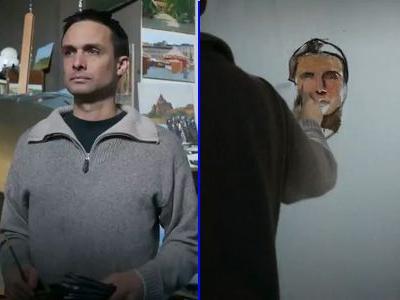鏡のようにそっくりな自画像を1週間かけて描く