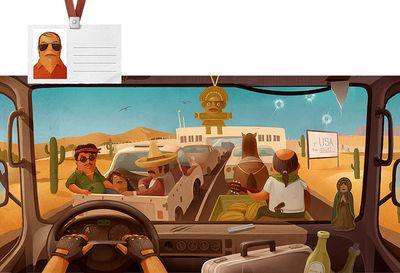車の運転席から見る世界各国のイメージ02