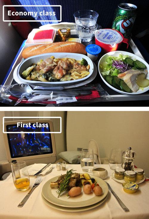 ファーストクラスとエコノミークラスの機内食04