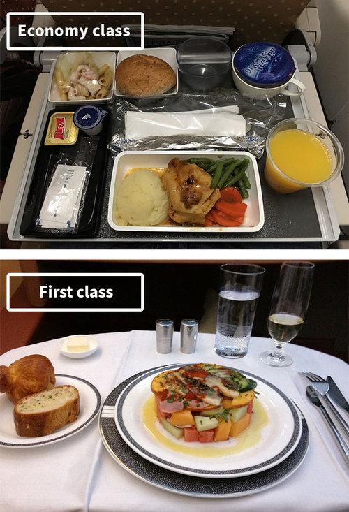 ファーストクラスとエコノミークラスの機内食06