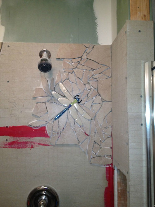 シャワー室の平凡なタイルをクールなデザインに05