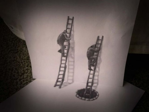 紙に描いた立体アート14