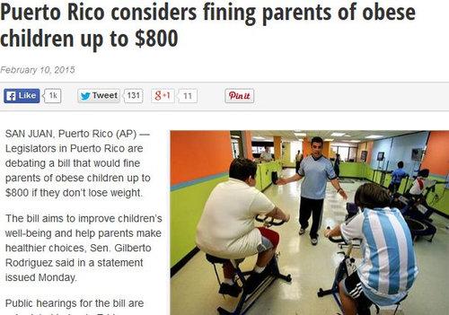 プエルトリコで肥満の子の親に罰金01