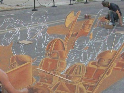 チョークで描いたレゴの兵隊00
