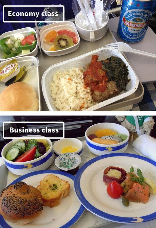 ファーストクラスとエコノミークラスの機内食10