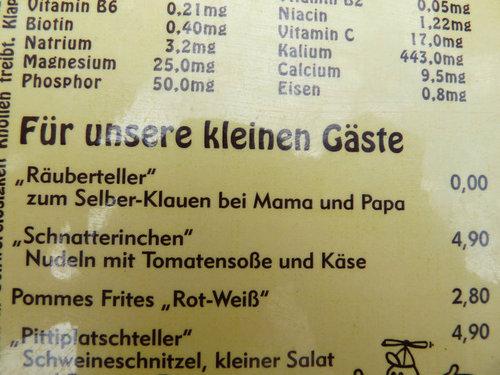 ドイツのレストランの子供向けメニュー02