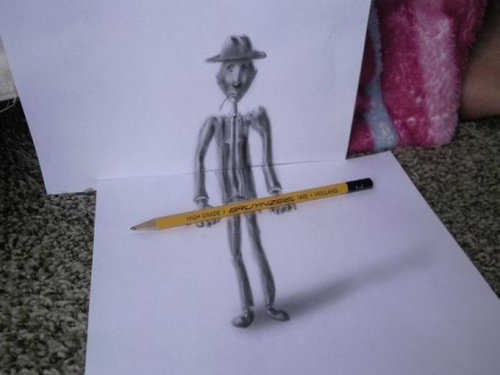 紙に描いた立体アート08