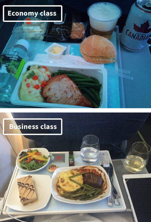 ファーストクラスとエコノミークラスの機内食09