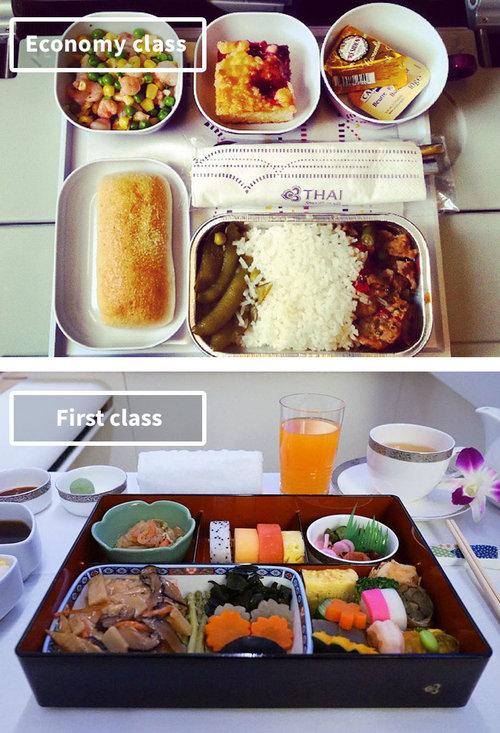 ファーストクラスとエコノミークラスの機内食02