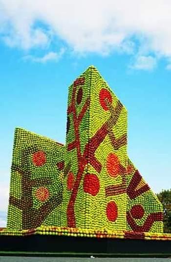 天然色で彩った巨大なりんごアート07