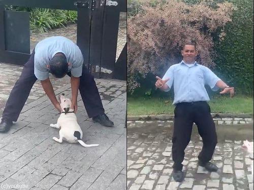 犬の横でポーズを決めた男性が驚いたこと00