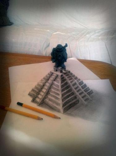 紙に描いた立体アート18