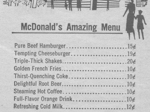 オリジナルのマクドナルド価格表01