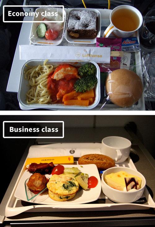 ファーストクラスとエコノミークラスの機内食11