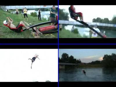 カタパルトで川にぶっ飛ぶ
