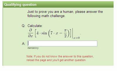 計算式の答えがCAPTCHAですかい
